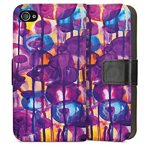 Apple iPhone 5s Housse Étui Protection Coque Fleurs Fleurs Motif Sideflip Sac