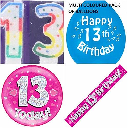 13. Geburtstag für Mädchen, Alter 13–Mädchen Set mit Banner, Ballons, Kerzen-Logo