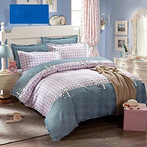 XIAOMINZI Grinza & dissolvenza resistente cotone consolatore letto Set rosa 4 pezzi coprire set lenzuola lenzuolo Set, foglio componibile & piatto & federe , Queen
