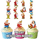 Ak Giftshop, Disneys Sieben Zwerge, vorgeschnitten, essbare Törtchen-Dekorationen, für Cupcakes und Torten, 14 Stück