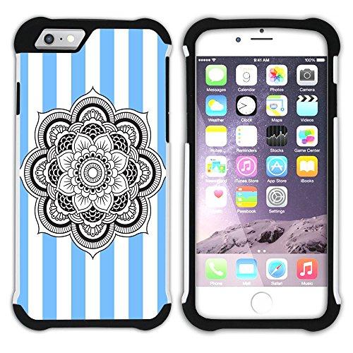 Graphic4You Mandala Blume Streifenmuster (Wasserblau) Hart + Weiche Kratzfeste Hülle Case Schale Tasche Schutzhülle für Apple iPhone 6 / 6S Schwarz