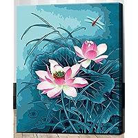 Obella vernice da numero tela con cornice, Libellula con fiori di loto, DIY Pittura a olio–40,6x 50,8cm disegni per adulti e bambini principianti bambini Room Home Decor