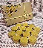 E - MANUFAKTUR Set 30 Stk. Teelichter mit Blumenmotiven aus 100% Bienenwachs Handgemachte Honig Kerzen Weinachtskerze Goldene Aluschalen