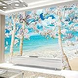 Wolipos 3D Tapete Wandbild Big Blue Sky White Wolken Sea Magnolia Tree Sofa Wandaufkleber 350cmX260cm