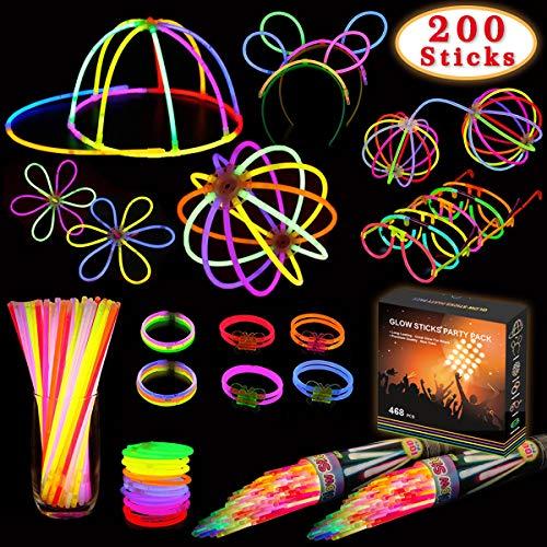Kimimara 200 Bracelets Fluorescents Lumineux Glow, Glow Sticks Kit Incluant Connecteurs pour Faire des Colliers et des Bracelets (Couleurs Mélangées)