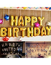 "Rozi Decoration ""Happy Birthday"" Foil Balloon (Pack of 13 Letters, Gold)"