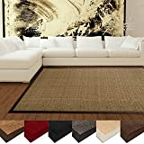 casa pura® Amazonas Sisal Rug with Cotton Border | Non-Slip Latex Backing | Cork | 160x230cm | Multiple Colour and Size Options