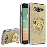 Galaxy J5,Galaxy SM-J500F,Asnlove Custodia Case Cover in TPU Brillante Suave Soft Bling Con Anello Dorato Del Supporto Coperchio Posteriore-Dorato