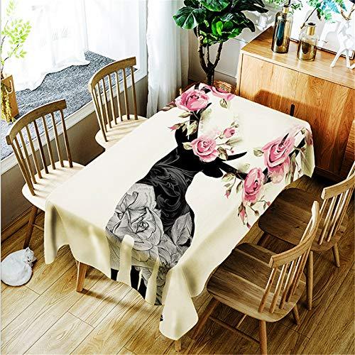 QWEASDZX Kreative Mode Tischdecke Polyester Digitaldruck wasserdichte Anti-Fleck-Tischdecke Geeignet für Innen- und Außenbereich Rechteckige Tischdecke Wiederverwendbar 150x210cm -