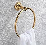 HGT Towel Ring in Brass Construction,Gold #38