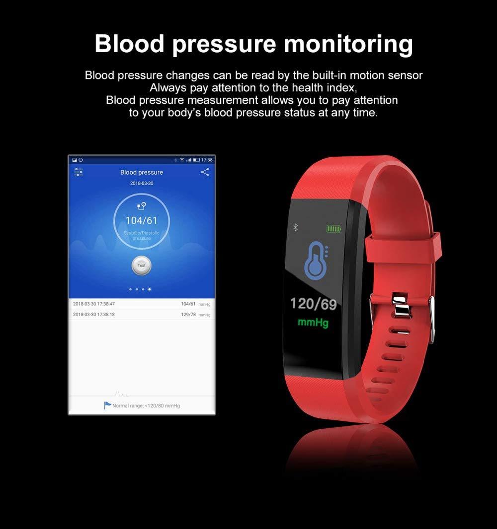 Fitness Tracker, reloj de pulsera de actividad con monitor de presión arterial IP67 resistente al agua con podómetro, contador de calorías y contador de pasos, regalo de cumpleaños para niños, mujeres, hombres 5