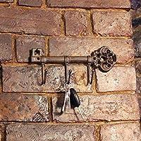 Garden Mile® Vintage Antique Style Cast Iron Key Rack Hook Holder Towel Rail Coat Rack Wall Mounted Decorative Key Hanging Rack Rustic Home Decor