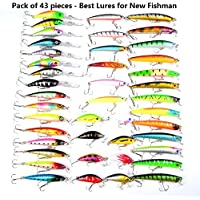 Fishing Lure Kits LureHunter Hard Baits Mixed 6 Models Fishing Tackle Minnow Lure Crank Lures Mix Fishing Bait ( 43 Color- by Lurehunter
