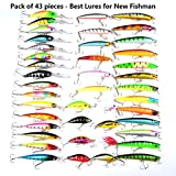 Fishing Lure Kits LureHunter Hard Baits Mixed 6 Models Fishing Tackle Minnow Lure Crank Lures Mix Fishing Bait ( 43 Color- by Lurehunter