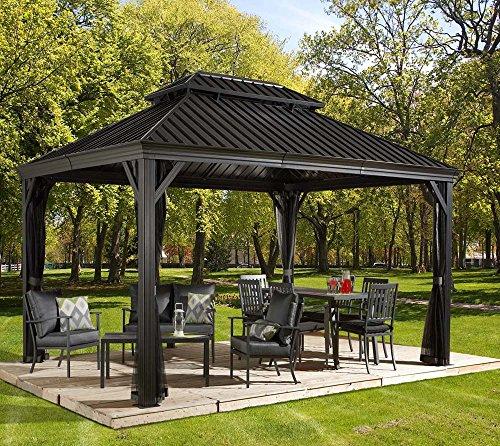 Stand Hält 12 Cues (Aluminium Pavillon Überdachung Gazebo Messina 12x16 // 363x483 cm (BxH) // Sommer-Pavillon und Gartenlaube mit Hard-Top Dach von Sojag)