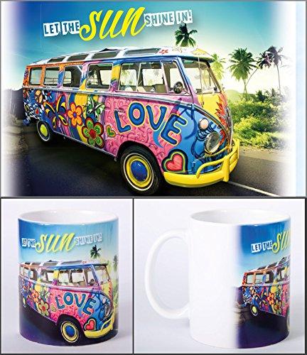 Witziger Henkelbecher, Kaffeetasse mit Motiv VW Bus Bulli 'Let the sun shine in!'
