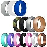 FineGood 14 stuks siliconen trouwring voor mannen vrouwen, 12 maten rubberen trouwbanden duurzame comfortabele antibacteriële