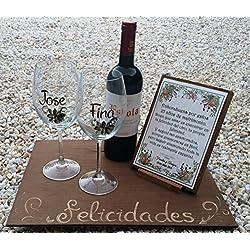 Regalo de Bodas personalizado con copas, vino y tabla