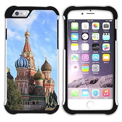 Graphic4You Moscow Russia Kremlin Postkarte Ansichtskarte Design Hart + Weiche Kratzfeste Hülle Case Schale Tasche Schutzhülle für Apple iPhone 6 Plus / 6S Plus Design #2