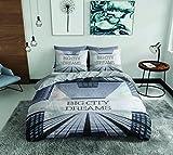 SASA Craze Big City Big Dreams Multi 100% Baumwolle Bettbezug Bettwäsche-Set mit Kissen Fällen, Multi, Einzelbett