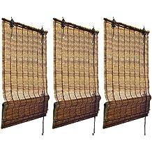 Juego de 3 Persianas - estores plisables de bambú de alta calidad - 120 x 160 cm (A x L) - Marrón
