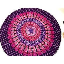 raajsee- indio Mandala redondo Roundie morado Ombre Print manta de playa tapiz Hippy Boho Gypsy algodón mantel estera de Yoga toalla de playa de Yoga y Meditación # rnd24
