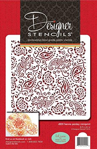Designer Schablonen C820Paisley Henna Miniprint Schablone, beige/halbtransparent -