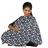 #2: Pure 100% cotton soft and smooth printed baby nursery feeding apron/Feeding cloak - Blue AOP
