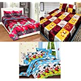 Jass Home Decor Super Home Combo Set Of 3 Grace Cotton King Size Double Bedsheet With 6 Pillow Covers