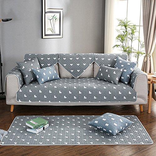 Baumwolle Sofabezug,Anti-rutsch Gesteppte sofa möbel protektoren Schnittsofa werfen abdeckung pad Rücken und armlehne separat-D 35x47inch(90x120cm) (Couch Loveseat Liege)