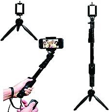 REAL CRAZE YT 1288 2 in 1 Adjustable Selfie Stick Monopod & YT 228 Mini Tripod for Smartphones & DSLR Cameras with Bluetooth Remote Shutter (Combo)