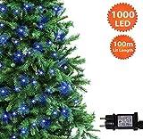 Weihnachtsfee Lichter 1000 LED Blauer Baum Lichter Innen- und Außenbeleuchtung Lichterketten Speicher-100m / 328ft Länge mit Anschlusskabel Grünes Kabel - 2 Jahre Garantie