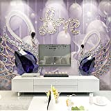 Mznm Custom Photo Mural Wallpapers Living Room Tv Backgrounds Decoration Wallpaper Love Swan Jewelry Wall Covering 3D-400X280Cm