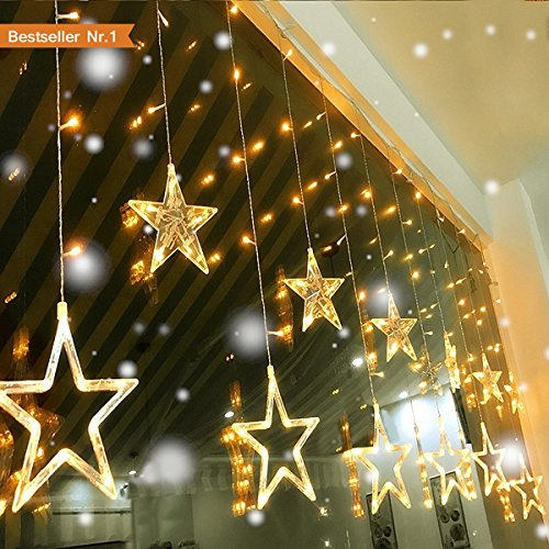 Led Lichterkette, Lichterketten Aussen fensterdeko weihnachtsdeko Party Deko Lichterketten Netz Batteriebetrieben 12 Sterne 138 Leuchtioden Lichtervorhang Dekoration Von Zuhause Weihnachten Festival