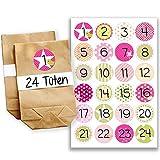 Papierdrachen Mini kit de calendrier de l'Avent N°14 avecautocollants et sachets...