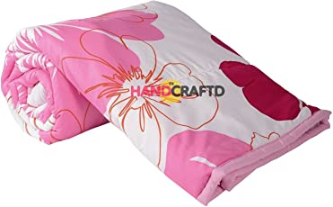 Handcraftd Single Bed Ac Blanket Dohar/Quilt Pink Flowers, Fabric - Micro Cotton, Size -54X84 Inches, Color Fastness Guarantee