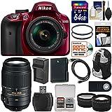 Nikon D3400 Digital SLR Camera & 18-55mm VR DX AF-P Zoom (Red) With 55-300mm VR Lens + 64GB Card + Backpack + Battery & Charger + Tele/Wide Lens Kit