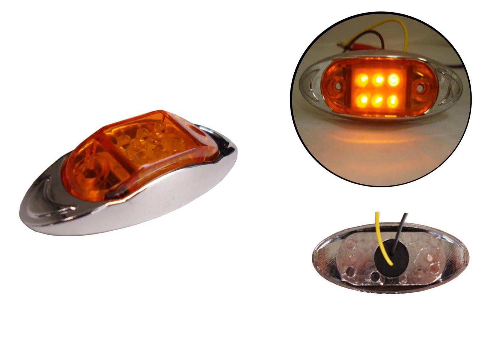 1x 12/24V 6LED lato posteriore anteriore cromata Marker Amber Orange Light Lamp rimorchio Horsebox Van