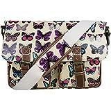 Miss Lulu Womens Oilcloth Satchel Bag Butterfly Beige
