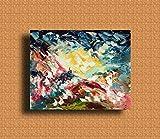 Pittura astratta, pittura moderna, blu, olio pittura astratta, arte camera da letto, grande arte, arte su tela, opere d'arte originali, paesaggio astratto BAGLIORE 50x40cm 19,69x15,75in