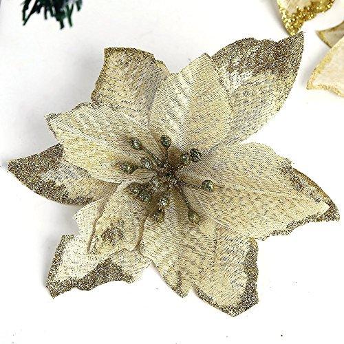 Zabrina 6Stück 13cm Weihnachtsbaum Dekorative Seide Blumen gold Weihnachtsstern Bush und rot Weihnachtsstern rot glitter Bush Künstliche Blumen Weihnachtsstern Baum, gold