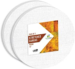 HomeStrap 10 Oz Primed Cotton Pre Stretched 12 Inch Round Canvas with Wooden Frame – Pack of 2