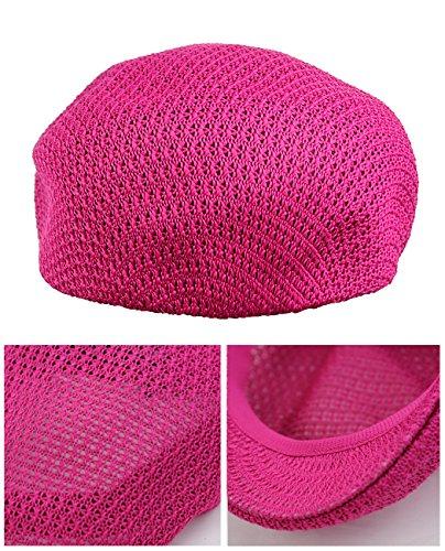 Casquette Ivy unisexe tissée de style filet à visière plate. Produit offert par NYFASHION101. Rose chaud