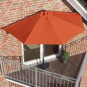 sonnenschirm halbrund rechteckig f r balkone oder terrassen polyester metall ca 270. Black Bedroom Furniture Sets. Home Design Ideas
