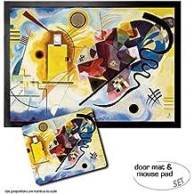 Set: 1 Felpudo Alfombrilla (70x50 cm) + 1 Alfombrilla Para Ratón (23x19 cm) - Vassili Kandinsky, Amarillo Rojo Azul, 1925