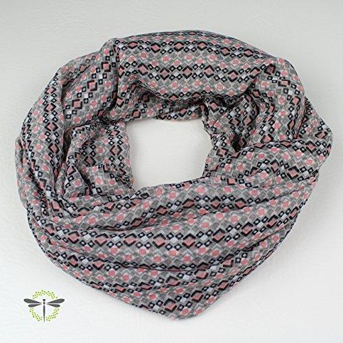 Loop-Schal Damen, rosa & grau, leichter Chiffon HANDMADE