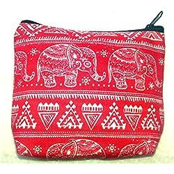 Rojo Algodón Monedero con diseño de bebé diseño de elefante