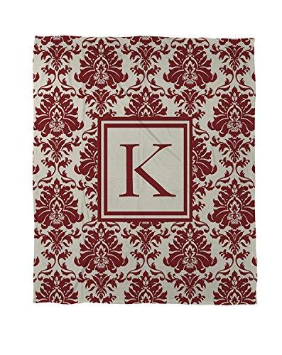 Manuelle holzverarbeiter & Weavers Bettbezug-, Monogramm Buchstabe K, Crimson Damast