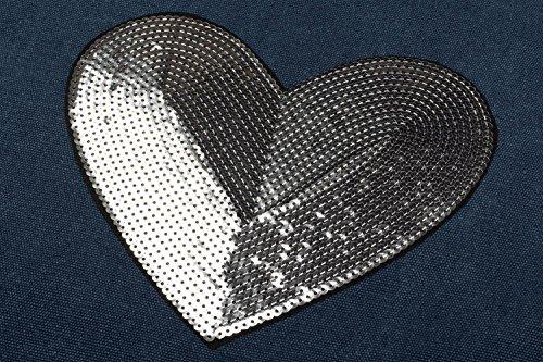 styleBREAKER Einkaufstasche mit Pailletten Herz Applikation, Tragetasche, Canvas Stofftasche, Tasche, Unisex 02012212, Farbe:Dunkelgrau Dunkelblau