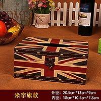 MEICHEN-Vintage tessuto creative box auto moda in pelle scatola Libro di legno stanza vivente casa,Jack flag